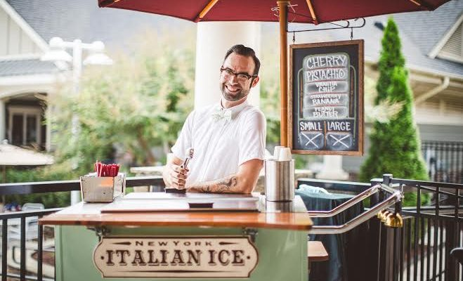 Italian Ice Server at Wedding